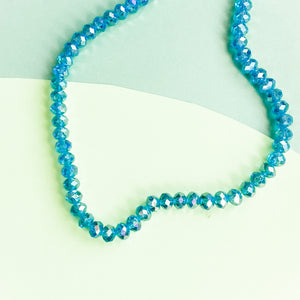 8mm Mermaid Blue Faceted Crystal Rondelle Strand