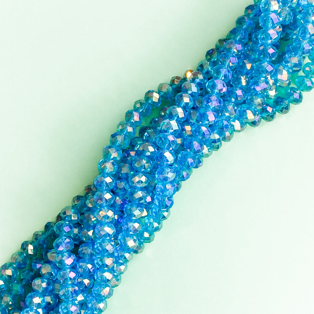 10mm Mermaid Blue Faceted Crystal Rondelle Strand