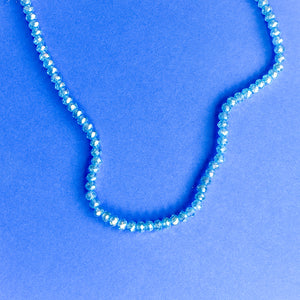 4mm Mermaid Blue Faceted Crystal Rondelle Strand