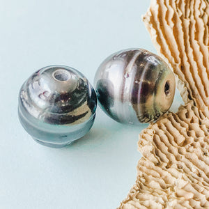 12-14mm Tahitian Large Hole Pearl - 2 Pack - Christine White Style