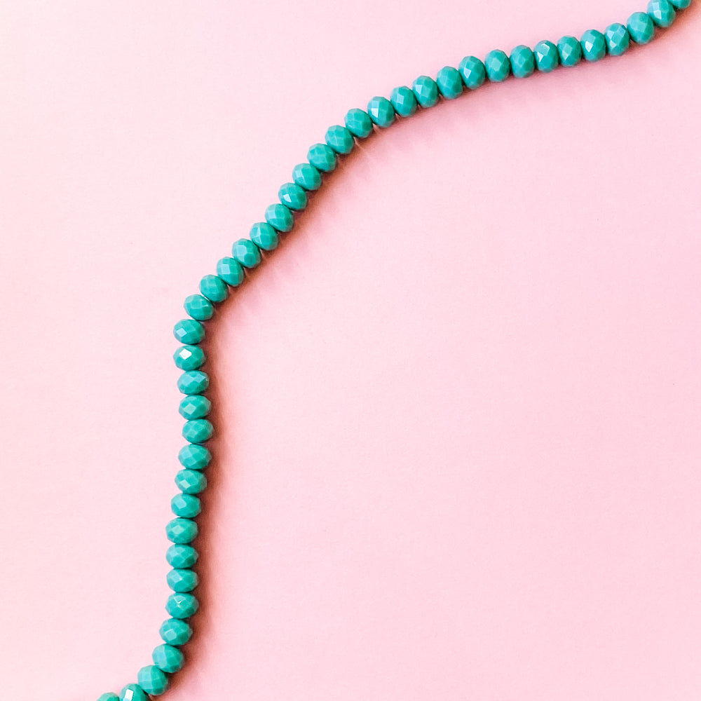 8mm Opaque Turquoise Faceted Crystal Rondelle Strand