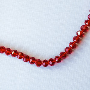 10mm Translucent Red Faceted Chinese Crystal Strand