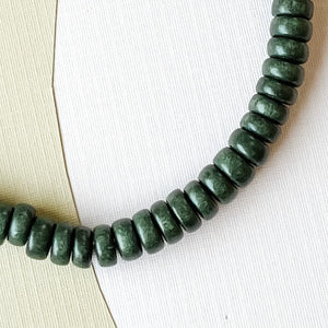 8mm Forest Green Wood Rondelle Strand