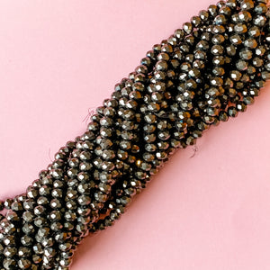 6mm Metallic Ore Faceted Crystal Rondelle Strand