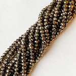 8mm Metallic Ore Faceted Crystal Rondelle Strand