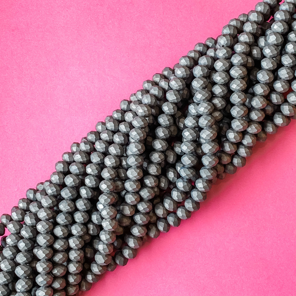 8mm Matte Espresso Faceted Chinese Crystal Rondelle Strand