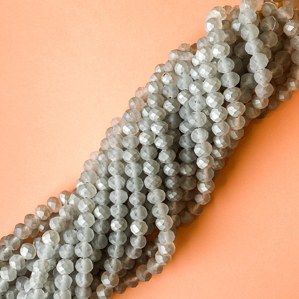 10mm Matte Metallic Gray Faceted Crystal Rondelle Strand