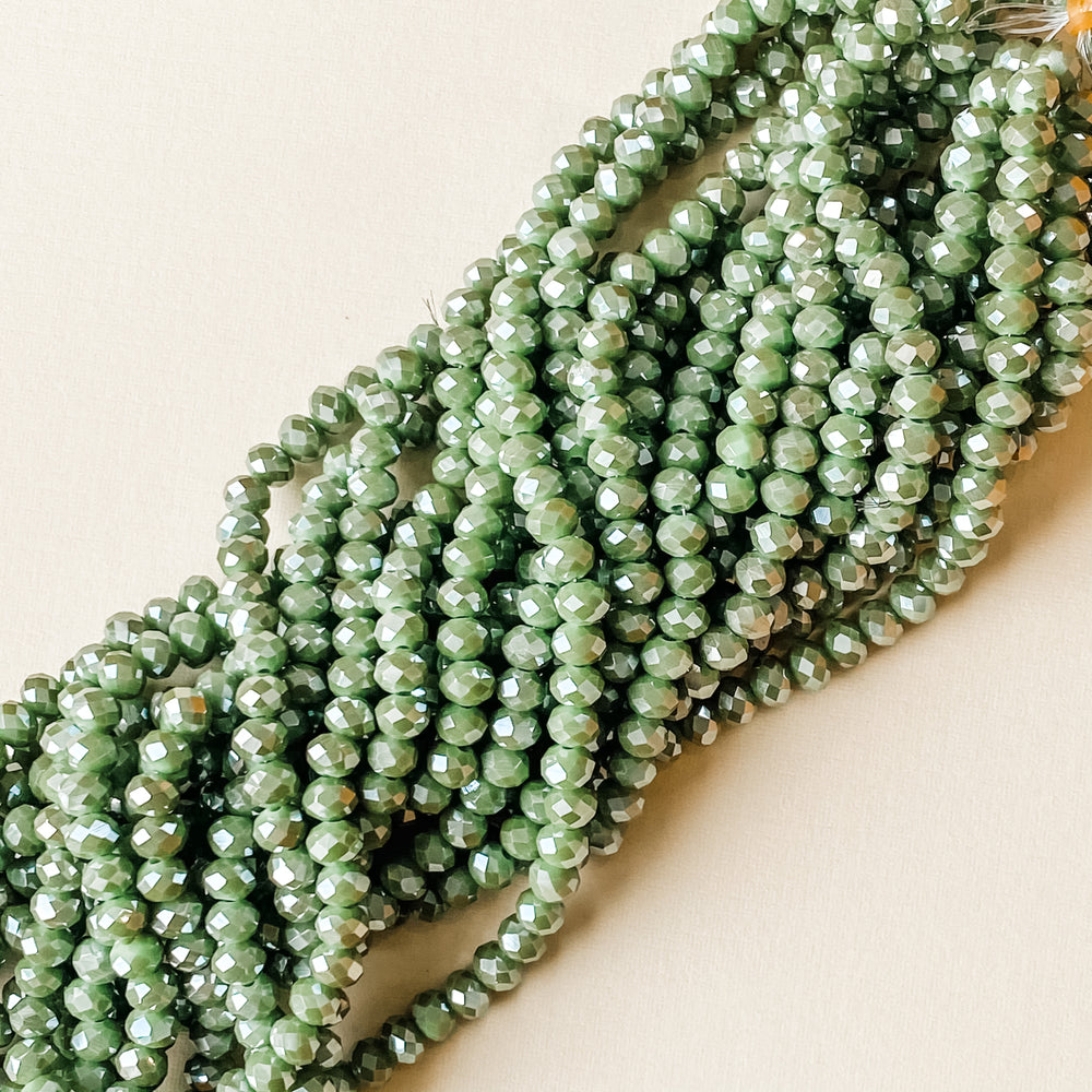 6mm Mystic Lime Faceted Crystal Rondelle Strand