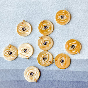 18mm Matte Gold Electroplated Evil Eye Coin Charm