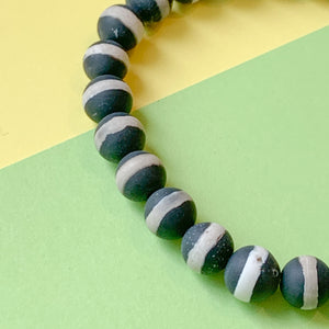 8mm Matte Striped DZI Agate Rounds Strand