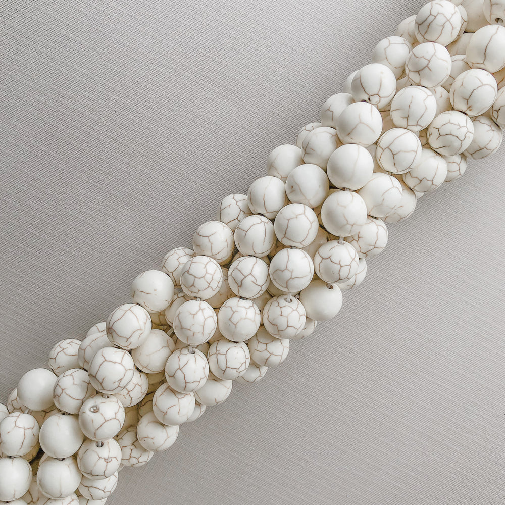 Load image into Gallery viewer, 12mm White Magnesite Rounds Strand - Christine White Style