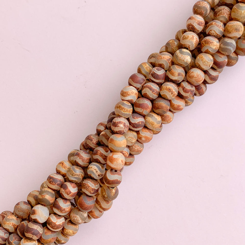 6mm Smooth Matte Rust DZI Agate Rounds Strand