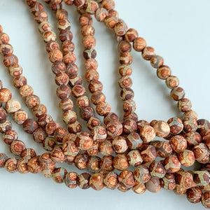 6mm Smooth Matte DZI Tortoise Agate Rounds Strand