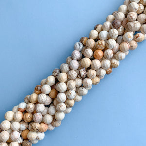8mm Faceted Natural Howlite Rounds Strand