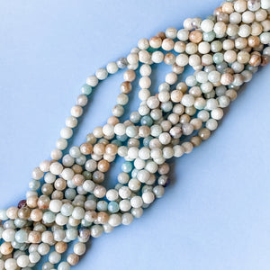Load image into Gallery viewer, 6mm Faceted Diamond-Finish Amazonite Round Strand