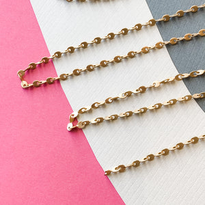 3mm Pinched Loop Brushed Gold Chain