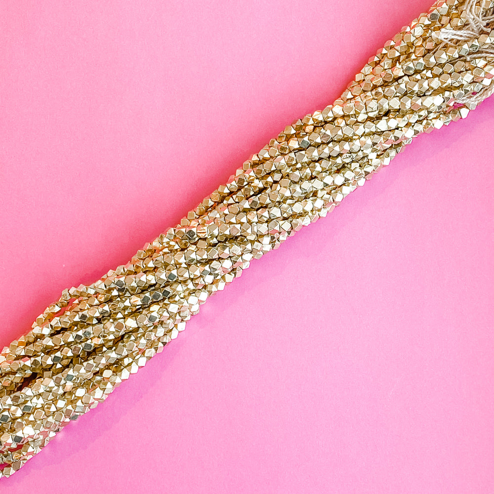 4mm Gold Square Nugget Bead Strand