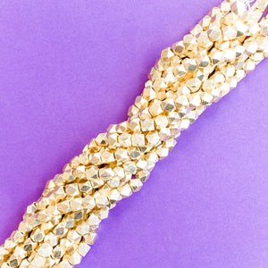 7mm Gold Nugget Cube Strand