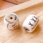 25mm Hand Carved X Barrel Bone Bead - 2 Pack
