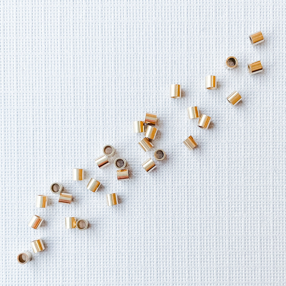 2mm Gold-Filled Crimp Tubes - 30 Pack