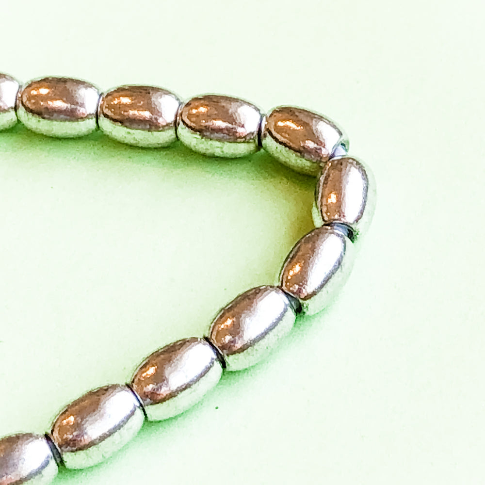 5mm Silver Oval Rice Brass Strand