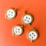 15mm White Enamel Pave Lucky Charm