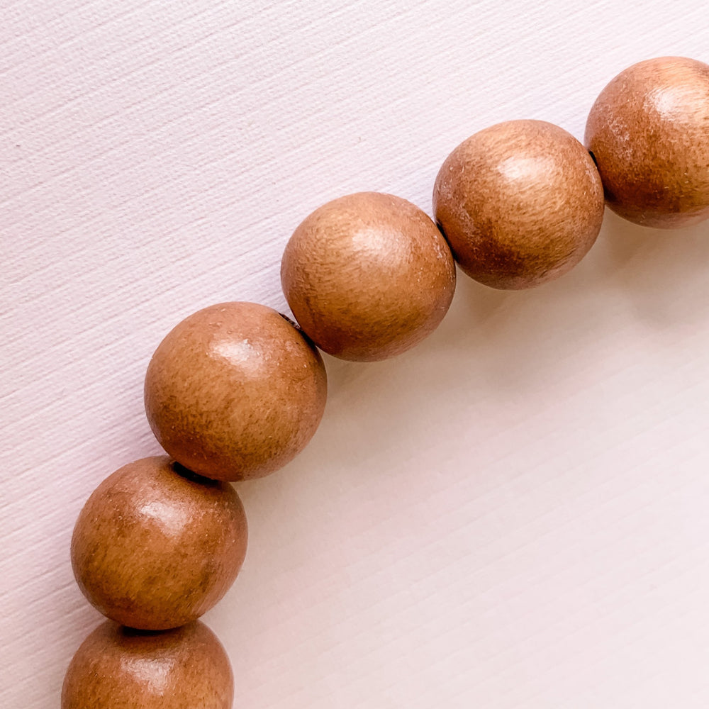 16mm Brown Wood Rounds Strand
