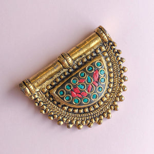 52mm Teal Tibetan Semicircle Gold Plated Pendant