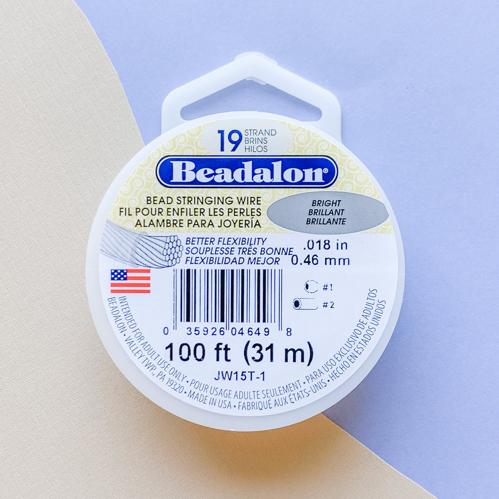 .018 Bright Beadalon Stringing Wire - 100 ft