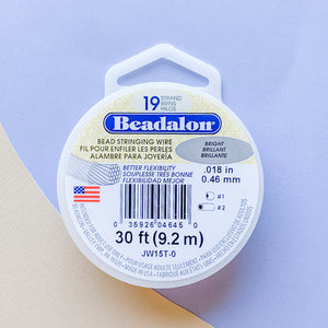 .018 Bright Beadalon Stringing Wire - 30ft - Christine White Style