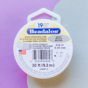 .012 Bright Beadalon Stringing Wire - 30ft - Christine White Style