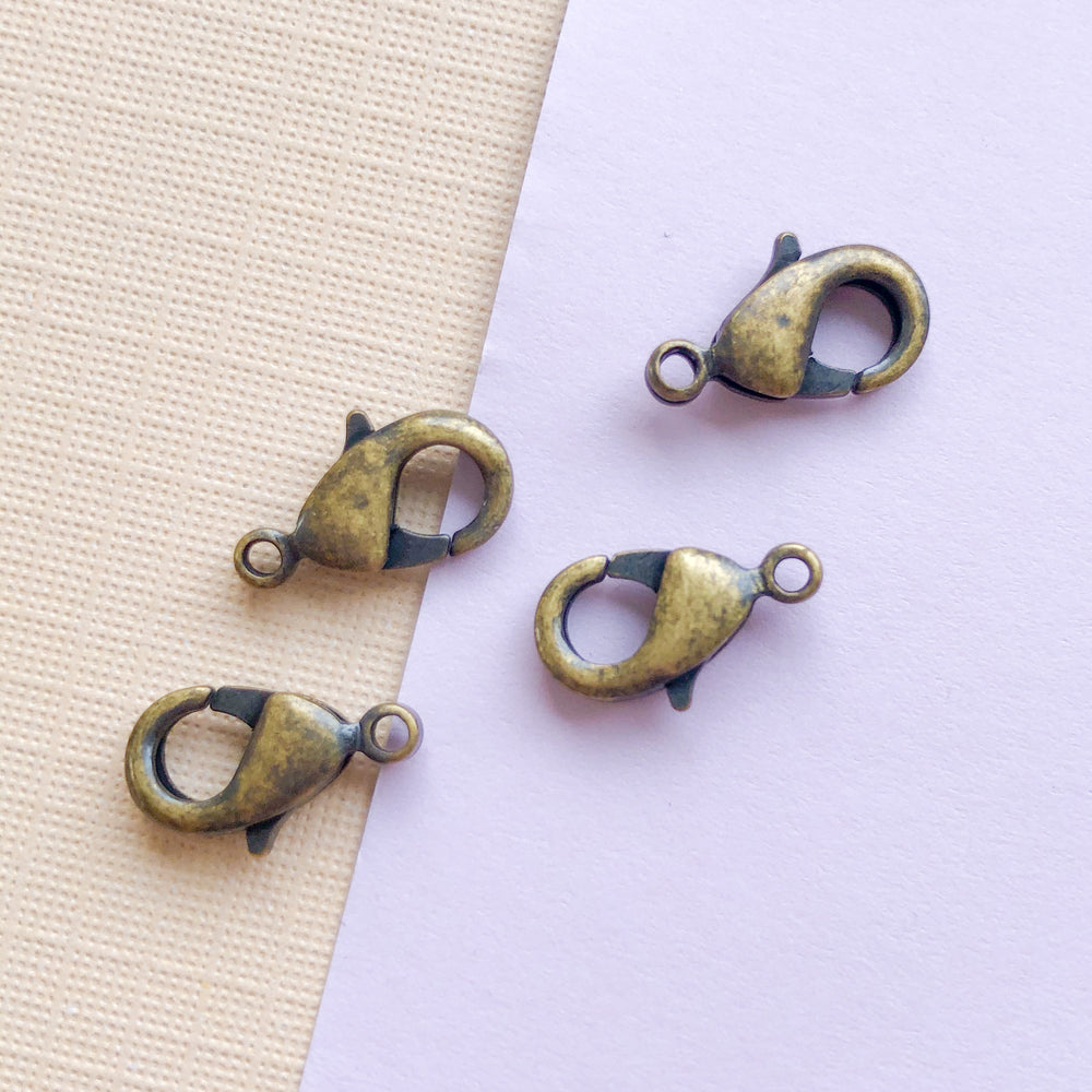 12mm Antique Brass Lobster Claw Clasp - 4 Pack