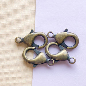 15mm Antique Brass Lobster Claw Clasp Pack