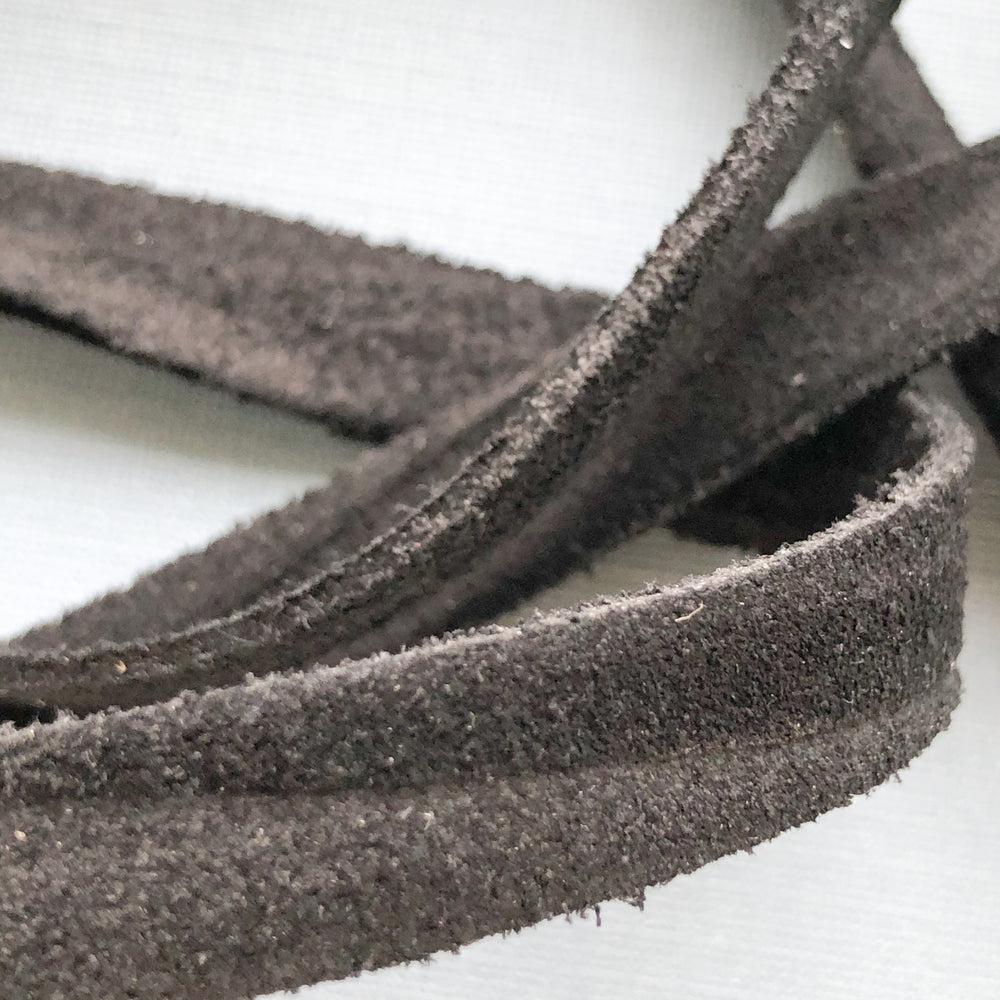 10mm Black Natural Suede - Christine White Style