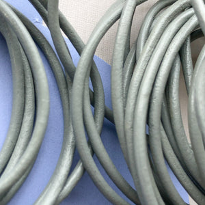 2mm Gray Round Leather Cord - 15'