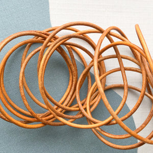1.5mm Tan Round Leather Cord - 6'
