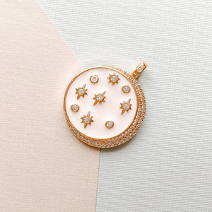 Load image into Gallery viewer, 23mm Enamel Pave Moon & Stars Pendant