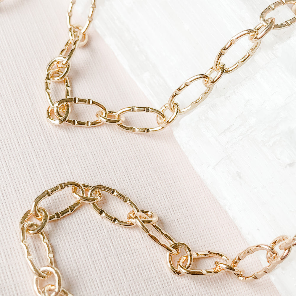 9mm Shiny Gold Textured Paperclip Chain