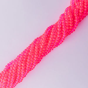 3mm Translucent Hot Pink Faceted Chinese Crystal Strand