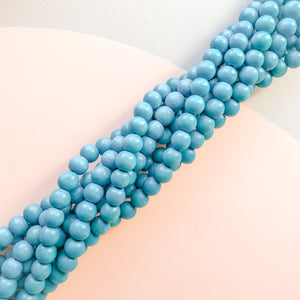 10mm Sky Blue Wood Rounds Strand
