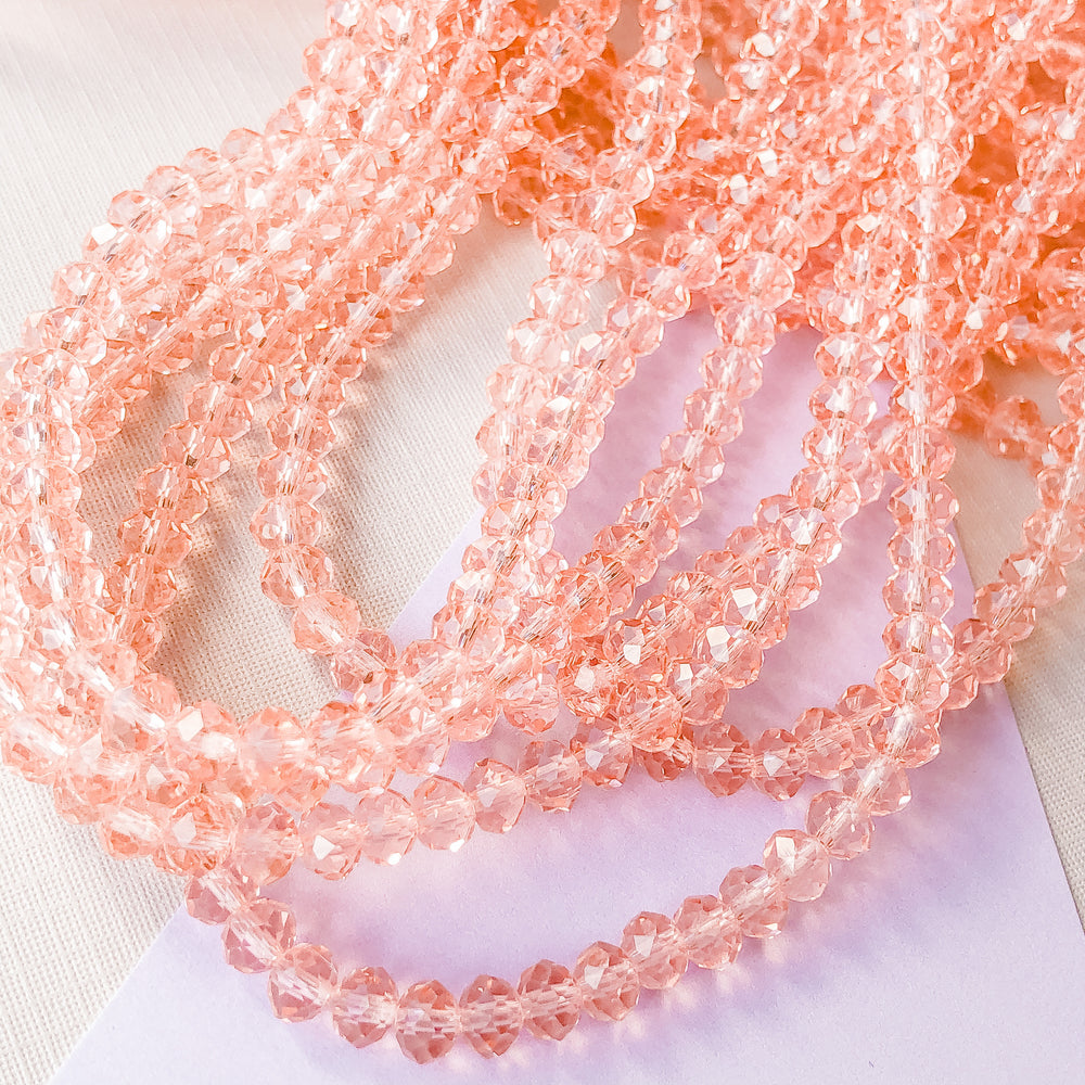 6mm Rose Faceted Chinese Crystal Rondelle Strand