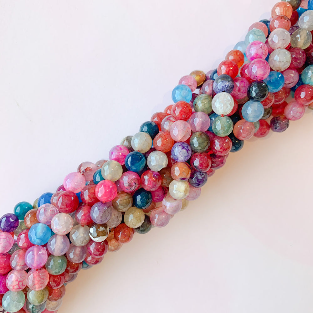 8mm Faceted Candy-Colored Agate Rounds Strand