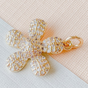 17mm Pave Gold Daisy Charm
