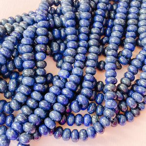 6mm Smooth Lapis Rondelle Strand