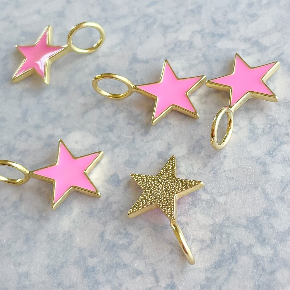 Load image into Gallery viewer, 15mm Pink Enamel Gold Star Pendant