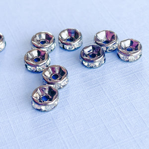 6mm Czech Crystal Gunmetal Rondelle - 10 Pack - Christine White Style