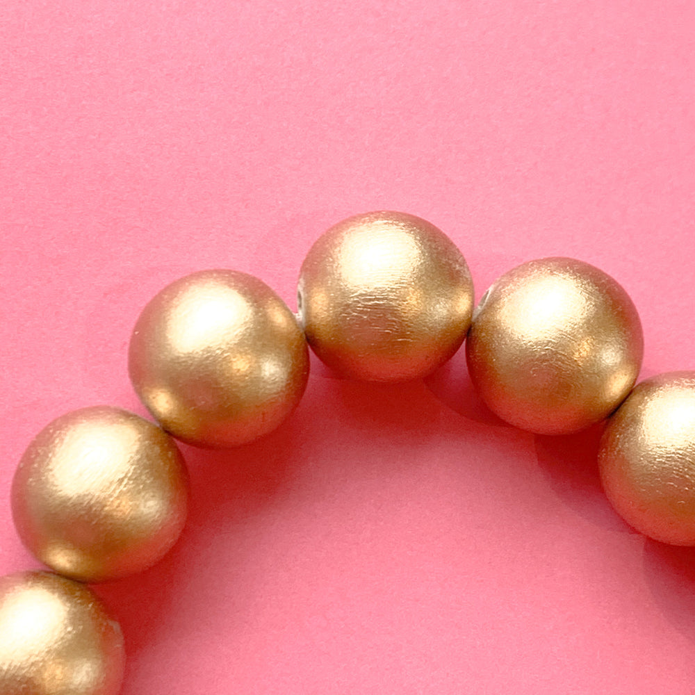 16mm Gold Wood Rounds Strand