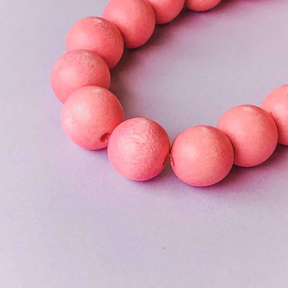 12mm Pink Wood Rounds Strand - Christine White Style