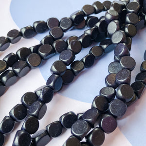 8mm Midnight Triangular Wood Strand - Christine White Style
