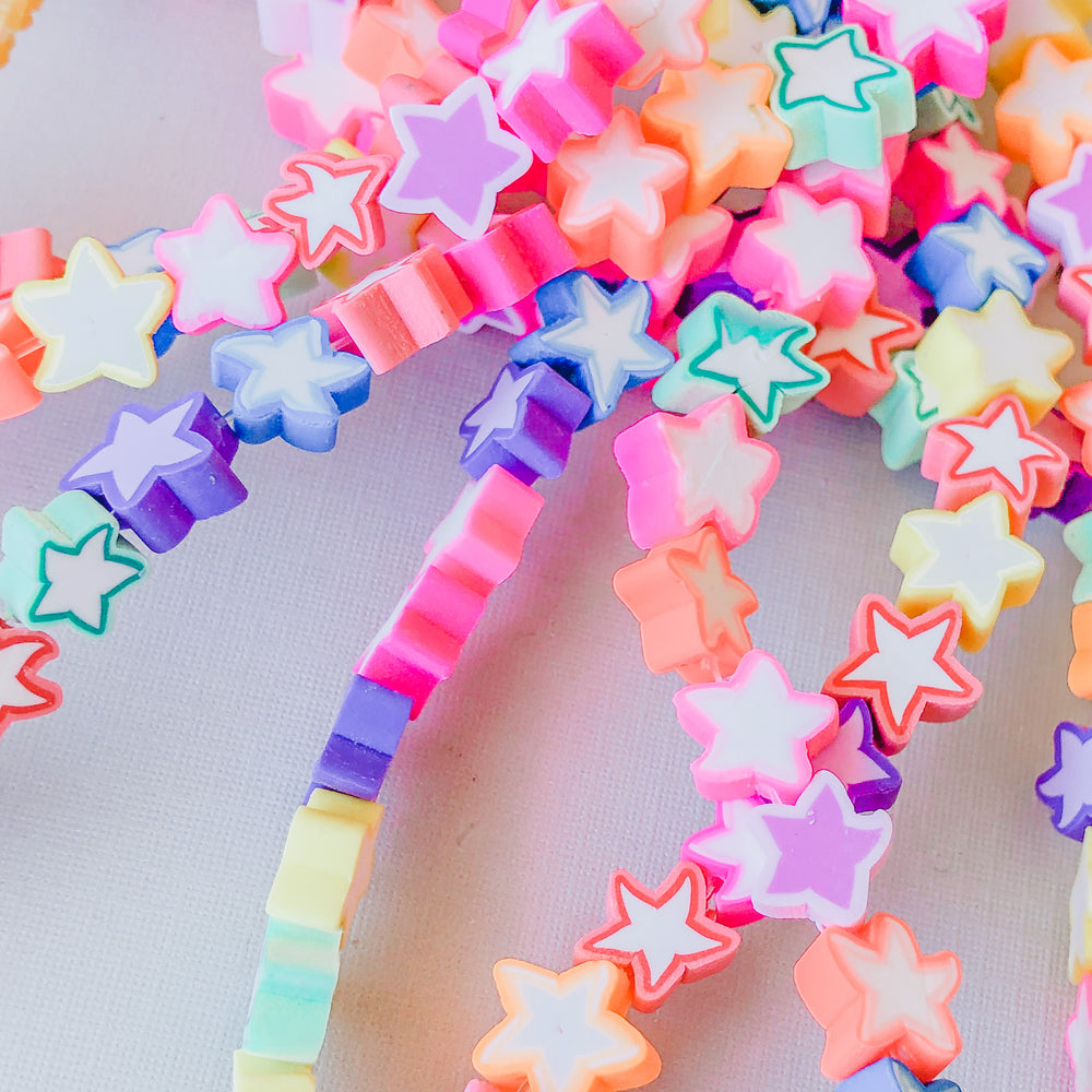 10mm Multicolor Star Polymer Clay Strand